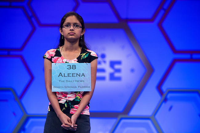 Speller No. Speller No. 38, Aleena Boby,14, eighth grader at Lexington Middle School, Fort Myers, Florida, competes in the preliminary rounds of the Scripps National Spelling Bee at the Gaylord National Resort and Convention Center in National Habor, Md., on Wednesday, May 29, 2013. Photo by Bill Clark