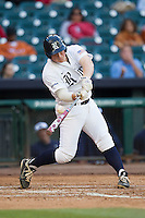 Rice Owls first baseman Skyler Ewing #44 swings during the NCAA baseball game against the North Carolina Tar Heels on March 1st, 2013 at Minute Maid Park in Houston, Texas. North Carolina defeated Rice 2-1. (Andrew Woolley/Four Seam Images).