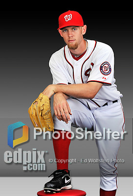 25 February 2011: Washington Nationals' pitcher Stephen Strasburg poses for his Photo Day portrait at Space Coast Stadium in Viera, Florida. Mandatory Credit: Ed Wolfstein Photo