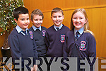 Jack Carney, Brahim Renai, Lorcan Ryan and Eimear O'Sullivan from Ardfert NS  at the Tralee Credit Union Primary Schools Quiz, held at Ballyroe Heights Hotel on Sunday