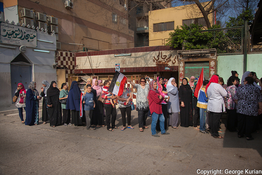 Scenes outside a polling station in Shubra, Cairo