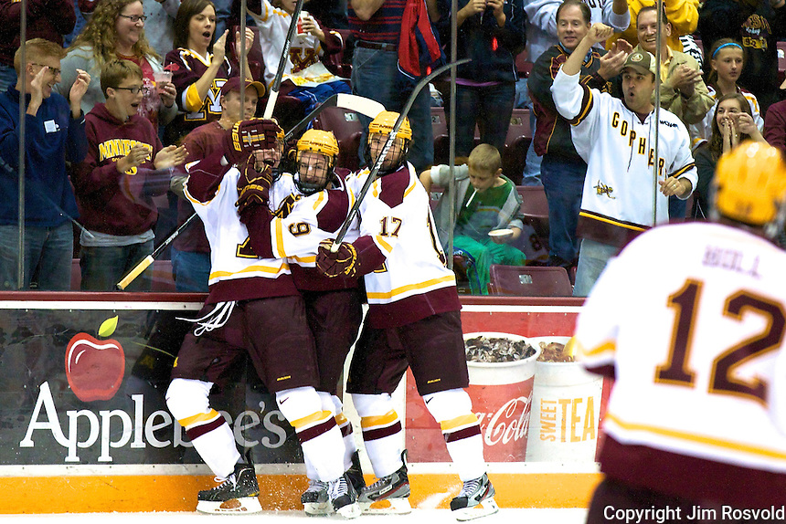 8 Oct 10:  Minnesota Goal Celebration. The University of Minnesota plays host to Sacred Heart in a non-conference matchup at Mariucci Arena in Minneapolis, MN.