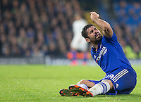Diego Costa of Chelsea calls for a foul during the UEFA Champions League Group G match between Chelsea and Dynamo Kyiv at Stamford Bridge, London, England on 4 November 2015. Photo by Andy Rowland.