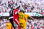 Amer Shafi of Jordan (L) saves the ball during the AFC Asian Cup UAE 2019 Group B match between Australia (AUS) and Jordan (JOR) at Hazza Bin Zayed Stadium on 06 January 2019 in Al Ain, United Arab Emirates. Photo by Marcio Rodrigo Machado / Power Sport Images