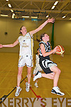 Mairead Finnegan, Scruffys St Pauls, bursts forward despite the best efforts of Emma Casey, Thurles Knights, during their division 1 national league clash in the Killarney sports and Leisure centre on Saturday night.