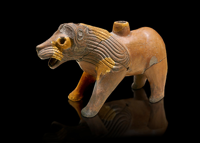 Hittite Terra cotta lion shaped ritual vessel - 16th century BC - Hattusa ( Bogazkoy ) - Museum of Anatolian Civilisations, Ankara, Turkey . Against black background