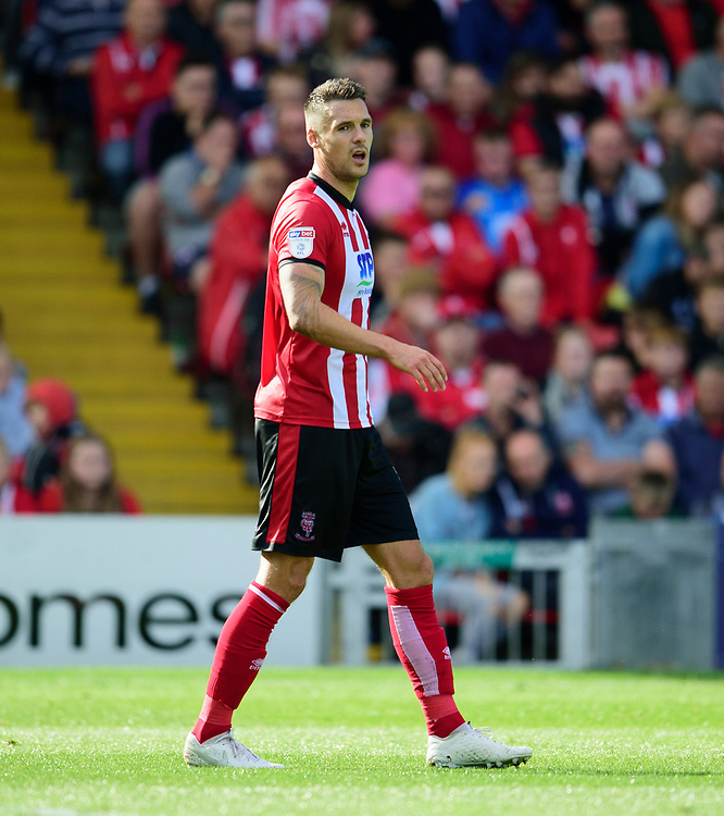 Lincoln City's Jason Shackell<br /> <br /> Photographer Andrew Vaughan/CameraSport<br /> <br /> The EFL Sky Bet League One - Lincoln City v Fleetwood Town - Saturday 31st August 2019 - Sincil Bank - Lincoln<br /> <br /> World Copyright © 2019 CameraSport. All rights reserved. 43 Linden Ave. Countesthorpe. Leicester. England. LE8 5PG - Tel: +44 (0) 116 277 4147 - admin@camerasport.com - www.camerasport.com