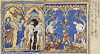 """(left) The Expulsion from Paradise: The disobedient Adam and Eve are expelled from Paradise by the Lord. An angel brandishes a sword over the guilty pair, who now ashamedly hold fig leaves to conceal their nudity. The Gate of Paradise through which the couple exits is depicted as a slender Gothic tower. (Genesis 3:22ñ24); (right) The Trials of Man and Woman: After their exile from Eden, the Lord multiplies the sorrows of Adam and Eve. She shall suffer the pains of childbirth; he must cultivate the earth for his bread. As Eve sits spinning with a distaff, Adam digs with a spade. Their sons Cain and Abel collect firewood at their feet. (Genesis 3:16ñ19). Excerpt of the first edition of the """"Crusader Bible"""", 13th century manuscript kept in the Pierpont Morgan Library in New York, on natural parchment made of animal skin published by Scriptorium SL in Valencia, Spain. © Scriptorium / Manuel Cohen"""