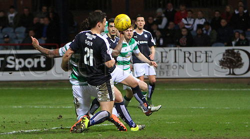 05.04.2016. Dens Park, Dundee, Scotland. Scottish Football Premiership Dundee versus Celtic. Darren O'Dea collides with Colin Kazim-Richards in the box . The game ended in a dull 0-0 draw.