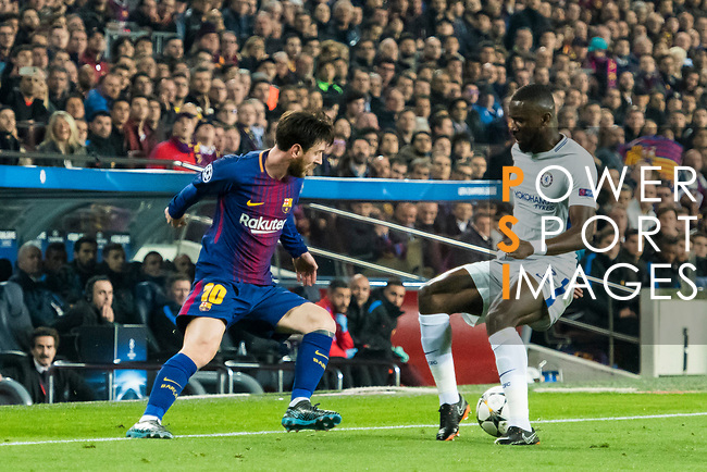 Lionel Andres Messi (L) of FC Barcelona battles for the ball with Antonio Rudiger of Chelsea FC  during the UEFA Champions League 2017-18 Round of 16 (2nd leg) match between FC Barcelona and Chelsea FC at Camp Nou on 14 March 2018 in Barcelona, Spain. Photo by Vicens Gimenez / Power Sport Images