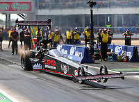 Oct 17, 2015; Ennis, TX, USA; NHRA top fuel driver Steve Torrence during qualifying for the Fall Nationals at the Texas Motorplex. Mandatory Credit: Mark J. Rebilas-USA TODAY Sports