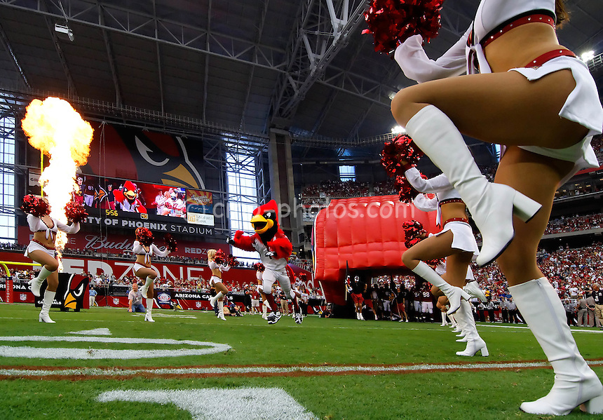 Oct 5, 2008; Glendale, AZ, USA; Arizona Cardinals mascot Big Red leads his team onto the field prior to a game against the Buffalo Bills at University of Phoenix Stadium.  Arizona won the game 41-17.