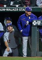 NWA Democrat-Gazette/BEN GOFF @NWABENGOFF<br /> Chris Reid (17), LSU third baseman, and Paul Mainieri, LSU head coach, watch in the 7th inning vs Arkansas Thursday, May 9, 2019, at Baum-Walker Stadium in Fayetteville.