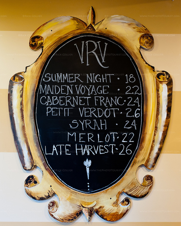 Prices for wines available to purchase are listed on a simple blackboard menu in the bar area at Vintage Ridge.
