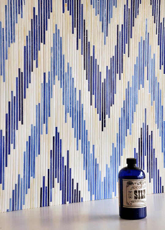 Pamir, a handmade jewel glass mosaic shown in Quartz, Iolite and Lapis Lazuli, is part of the Ikat Collection by Sara Baldwin for New Ravenna Mosaics.<br />