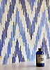 Pamir, a handmade jewel glass mosaic shown in Quartz, Iolite and Lapis Lazuli, is part of the Ikat Collection by New Ravenna.