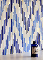 Pamir, a handmade jewel glass mosaic shown in Quartz, Iolite and Lapis Lazuli, is part of the Ikat Collection by Sara Baldwin for New Ravenna Mosaics.<br /> <br /> Take the next step: prices, samples and design help, http://www.newravenna.com/showrooms/