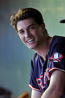 Pitcher Max Fried (32) of the Rome Braves talks with teammates in the dugout during a game against the Greenville Drive on Wednesday, August 31, 2016, at Fluor Field at the West End in Greenville, South Carolina. Rome won, 9-1. (Tom Priddy/Four Seam Images)