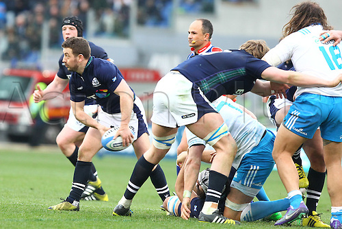 27.02.2016. Stadio Olimpico, Rome, Italy. RBS Six Nations Championships. Italy versus Scotland. LAIDLAW GREIG plays the ball along his line from the ruck
