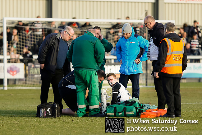 Darlington's Sam Muggleton receives treatment for a suspected broken femur. Darlington 1883 v Southport, National League North, 16th February 2019. The reborn Darlington 1883 share a ground with the town's Rugby Union club. <br />
