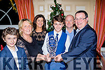 Lead the Way<br /> ------------------<br /> Danny Sheehy, Castleisland, centre, receives the Leading jockey prize from Hanna Willis, treasurer of the Horse and Pony racing southern region and David Geary, Vice chairman at their social last Saturday night in the Riverisland hotel, Castleisland, also pictured is his brother Mikey and his parents Roisin&amp;Eamonn Sheehy.