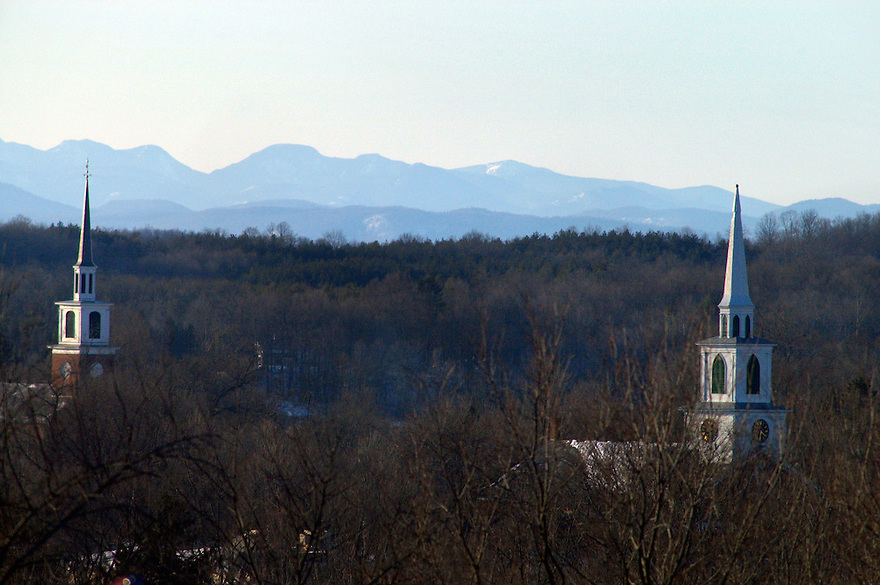 Brandon, Vermont with the Adirondacks of New York in the background.