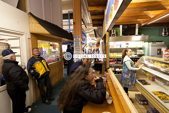 Seven Sisters Market, also known as El Pueblito Paisa, is the largest Latin American market in England and home to 40 independent traders. Wards Corner, Tottenham, London UK. The market is under threat from redevelopment by Haringey Council. UK 2011