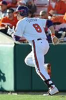 Third Baseman Richie Shaffer #8 of the Clemson Tigers runs to first during  a game against the North Carolina Tar Heels at Doug Kingsmore Stadium on March 9, 2012 in Clemson, South Carolina. The Tar Heels defeated the Tigers 4-3. Tony Farlow/Four Seam Images.