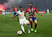 16th May 2018, Stade de Lyon, Lyon, France; Europa League football final, Marseille versus Atletico Madrid; Diego Godin of Atletico Madrid puts pressure on Andre-Frank Zambo Anguissa of Marseille