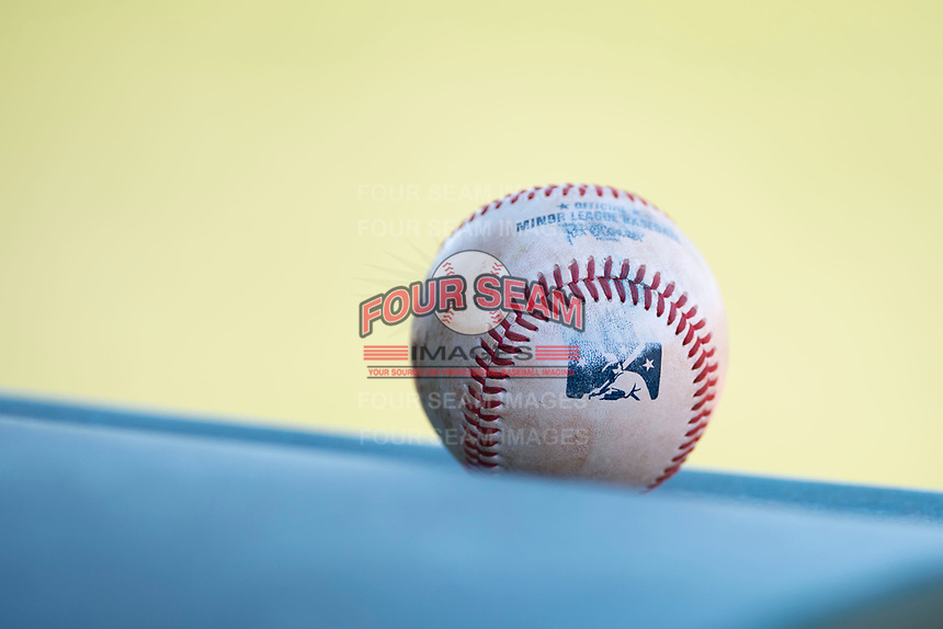 A Minor League baseball at a Minor League Spring Training game between the Cincinnati Reds and the Chicago White Sox at the Cincinnati Reds Training Complex on March 28, 2018 in Goodyear, Arizona. (Zachary Lucy/Four Seam Images)