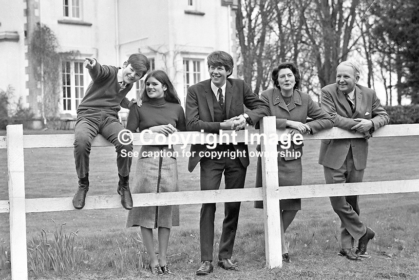 Brian Faulkner, Ulster Unionist Prime Minister, with wife, Lucy Faulkner, daughter Claire, and sons, Michael (left) and David (second from left), in the grounds of their home in Seaforde, Co Down, N Ireland. 188/71, 197103280188<br /> <br /> Copyright Image from Victor Patterson,<br /> 54 Dorchester Park, Belfast, UK, BT9 6RJ<br /> <br /> t1: +44 28 90661296<br /> t2: +44 28 90022446<br /> m: +44 7802 353836<br /> <br /> e1: victorpatterson@me.com<br /> e2: victorpatterson@gmail.com<br /> <br /> For my Terms and Conditions of Use go to<br /> www.victorpatterson.com