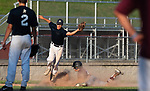 NAUGATUCK , CT-072920JS08—Naugatuck's Jonathan Chatfield (17) slides safely into third base as the throw to Bethel's Alexander Kasbarian (55) goes wide during their CT Elite Baseball Association's game  Wednesday at Naugatuck High School. Chatfield was able to come in and score on the play. <br />  Jim Shannon Republican-American
