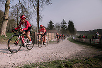 Leah Kirchmann (CAN/Sunweb) leading the peloton through the Plugstreets. <br /> <br /> 8th Gent-Wevelgem In Flanders Fields 2019 <br /> Elite Womens Race (1.WWT)<br /> <br /> One day race from Ypres (Ieper) to Wevelgem (137km)<br /> ©JojoHarper for Kramon