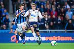 Stockholm 2013-10-27 Fotboll Allsvenskan Djurg&aring;rdens IF - Gefle IF :  <br /> Gefle 9 Johan Oremo i kamp om bollen med Djurg&aring;rden 13 Emil Bergstr&ouml;m <br /> (Foto: Kenta J&ouml;nsson) Nyckelord: