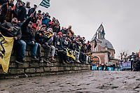 The infamous Kapelmuur/Muur van geraardsbergen on the most holy of days, waiting for the riders to appear<br /> <br /> 102nd Ronde van Vlaanderen 2018 (1.UWT)<br /> Antwerpen - Oudenaarde (BEL): 265km