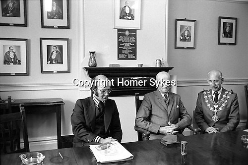 Letting of the Chard Market Tolls. The Guildhall, Chard Somerset. April 1975;<br />