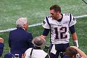 3rd February 2019, Atlanta Georgia, USA; NFL Superbowl LIII, New England Patriots versus Los Angeles Rams;  New England Patriots quarterback Tom Brady (12) has a word with New England Patriots owner Robert Kraft on his way off the field prior to Super Bowl LIII