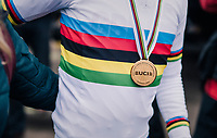 Tom Pidcock's (GBR) rainbow &amp; gold<br /> <br /> Men&rsquo;s U23 race<br /> <br /> UCI 2019 Cyclocross World Championships<br /> Bogense / Denmark<br /> <br /> &copy;kramon