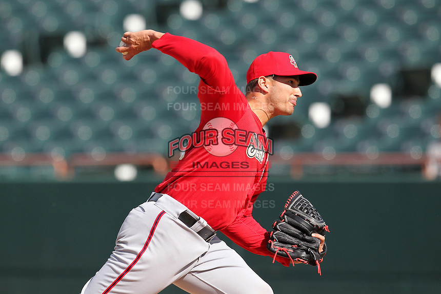 Harrisburg Senators pitcher Christian Garcia #23 delivers a pitch during a game against the Bowie BaySox at Prince George's Stadium on April 8, 2012 in Bowie, Maryland.  Harrisburg defeated Bowie 5-2.  (Mike Janes/Four Seam Images)
