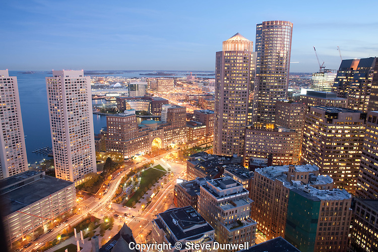 Financial District evening views from Customs House Tower, Boston, MA Greenway