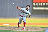 Lakewood BlueClaws starting pitcher Victor Santos (12) delivers a pitch during a game against the Asheville Tourists at McCormick Field on August 5, 2019 in Asheville, North Carolina. The BlueClaws defeated the Tourists 4-2. (Tony Farlow/Four Seam Images)