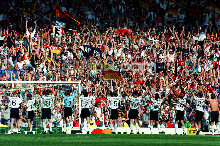 Pix:Michael Steele/SWpix...International Soccer. Germany v Russia, Old Trafford, Manchester. Euro '96...COPYRIGHT PICTURE>>SIMON WILKINSON..Germany salute thier fans.