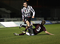 Kevin McHaity (3) gets the better of Paul McGinn in the St Mirren v Heart of Midlothian Clydesdale Bank Scottish Premier League U20 match played at St Mirren Park, Paisley on 6.11.12.