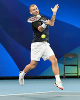 7th January 2020; Sydney Olympic Park Tennis Centre, Sydney, New South Wales, Australia; ATP Cup Australia, Sydney, Day 5; Great Britain versus Moldova; Daniel Evans of Great Britain versus Radu Albot of Moldova; Daniel Evans of Great Britain hits a forehand to Radu Albot of Moldova - Editorial Use
