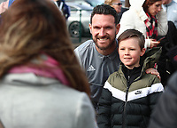 29th February 2020; Cardiff City Stadium, Cardiff, Glamorgan, Wales; English Championship Football, Cardiff City versus Brentford; Sean Morrison of Cardiff City has a photo with a Cardiff City fan outside the stadium as players arrive