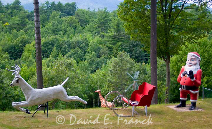 Santa Claus and reindeer at Magic Forest a fairy tale themed childrens amusement park which opened in 1963 in Lake George New York