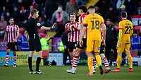 Lincoln City's Harry Toffolo unsuccessfully appeals for a penalty from Referee Michael Salisbury<br /> <br /> Photographer Chris Vaughan/CameraSport<br /> <br /> The EFL Sky Bet League Two - Lincoln City v Northampton Town - Saturday 9th February 2019 - Sincil Bank - Lincoln<br /> <br /> World Copyright &copy; 2019 CameraSport. All rights reserved. 43 Linden Ave. Countesthorpe. Leicester. England. LE8 5PG - Tel: +44 (0) 116 277 4147 - admin@camerasport.com - www.camerasport.com