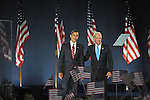U.S. President Elect Barack Obama is joined by U.S. Vice-President Elect Jospeh Biden after delivering his victory speech on Election Night 2008 in Grant Park in Chicago, Illinois on November 4, 2008.