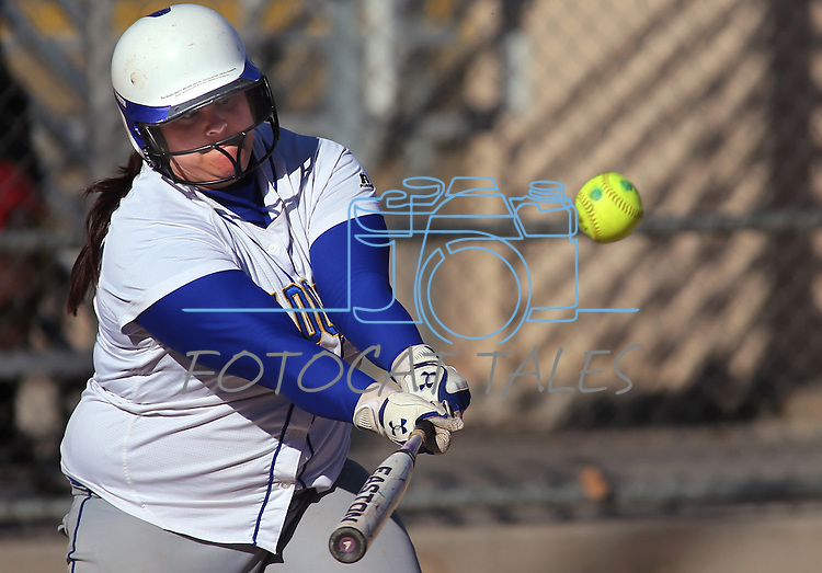 Wildcat Cara McCarthy gets a hit against Salt Lake Community College in a college softball game on Friday, Feb. 15, 2013, in Carson City, Nev. McCarthy went 3-for-3 in the 4-2 loss..Photo by Cathleen Allison