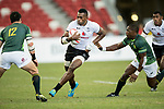 Sevuloni Mocenacagi of Fiji runs with the ball during the match Fiji vs South Africa, Day 2 of the HSBC Singapore Rugby Sevens as part of the World Rugby HSBC World Rugby Sevens Series 2016-17 at the National Stadium on 16 April 2017 in Singapore. Photo by Victor Fraile / Power Sport Images